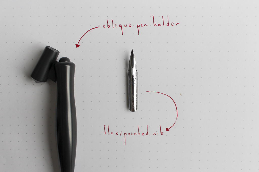 Anatomy of your calligraphy tools: Oblique pen holder and flex nib