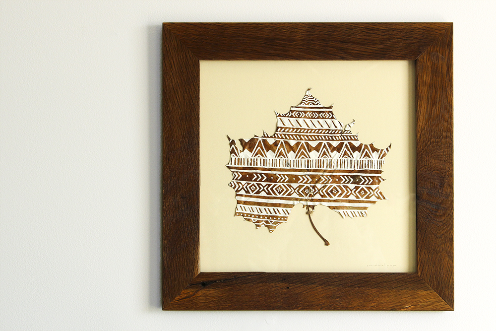 Large Geometric Framed Painted Leaf