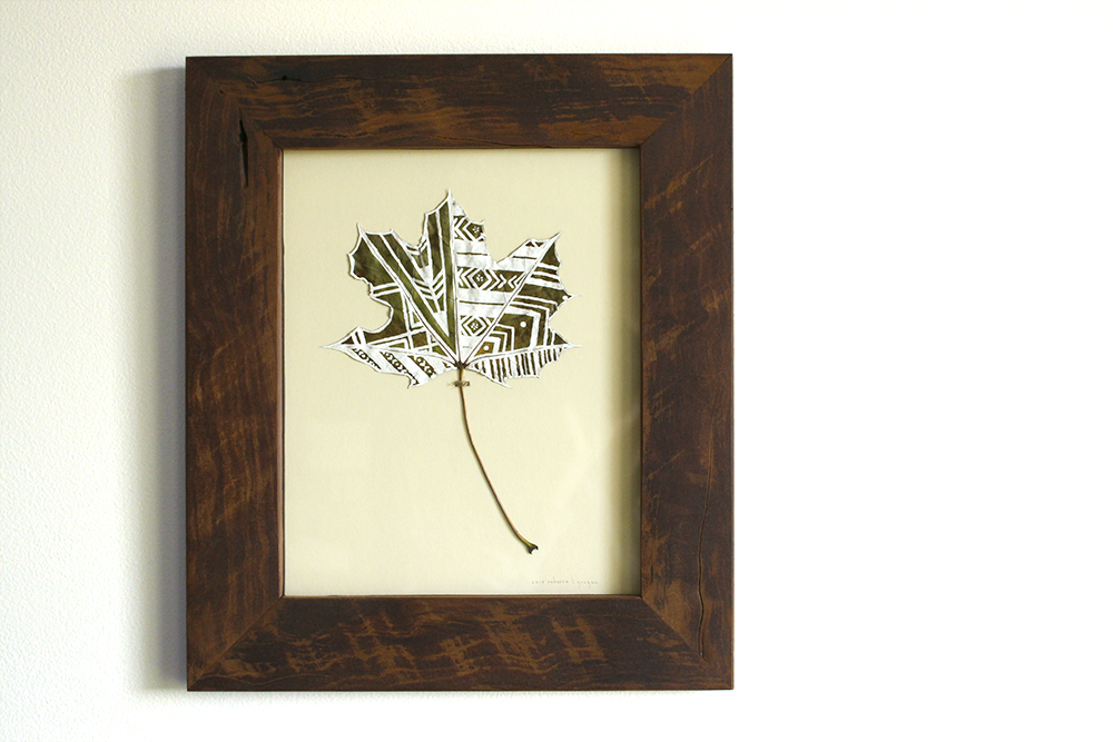Multi Pattern Framed Geometric Painted Leaf