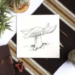 Original black and white pointillism pen drawing of mushroom
